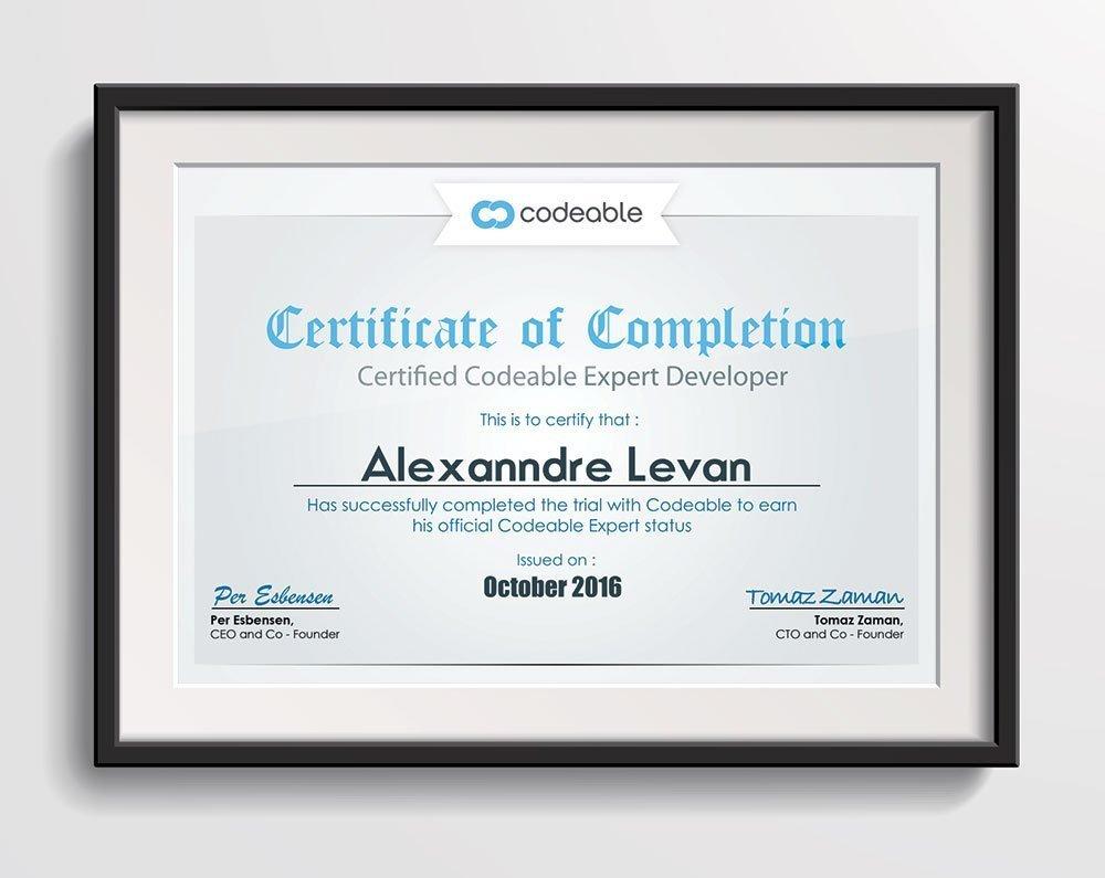 Alexanndre Levan's Codeable Certificate